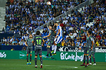 Leganes' Dimitrios Siovas and Real Sociedad's Mikel Oyarzabal (l) and Igor Zubeldia (r) during La Liga match. August 24, 2018. (ALTERPHOTOS/A. Perez Meca)