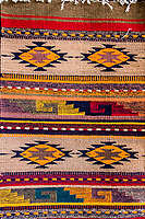 Santa Ana del Valle, Oaxaca; Mexico.  Traditional Geometric Symbols on a Hand-Woven Zapotec Indian Fabric, a Wall Hanging.
