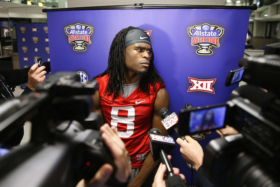 Mississippi wide receiver Quincy Adeboyejo talks to media during a news conference Wednesday Dec. 30, 2015, in New Orleans. Mississippi is set to face Oklahoma State in the Sugar Bowl on New Year's Day. (AP Photo/Jonathan Bachman)
