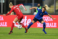 Rikke Marie Madsen of Denmark and Martina Rosucci of Italy compete for the ball during the Women s EURO 2022 qualifying football match between Italy and Denmark at stadio Carlo Castellani in Empoli (Italy), October, 27th, 2020. Photo Andrea Staccioli / Insidefoto