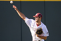 Texas A&M Aggie starting pitcher Michael Wacha warms up prior to the NCCAA Regional tournament baseball game against the Dayton Flyers on June 1, 2012 at Blue Bell Park in College Stateion, Texas. The Aggies defeated the Flyers 4-1. (Andrew Woolley/Four Seam Images)