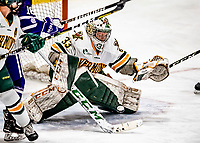 16 February 2019: University of Vermont Catamount Goaltender Melissa Black, a Senior from Newmarket, Ontario, makes a third period save against the Holy Cross Crusaders at Gutterson Fieldhouse in Burlington, Vermont. The Lady Cats defeated the Crusaders 4-1 to sweep their 2-game weekend series. Mandatory Credit: Ed Wolfstein Photo *** RAW (NEF) Image File Available ***