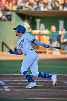 Miguel Vargas (18) of the Ogden Raptors bats against the Helena Brewers at Lindquist Field on July 14, 2018 in Ogden, Utah. Ogden defeated Helena 8-6. (Stephen Smith/Four Seam Images)