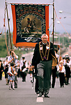 Reverend Ian Paisley Orange Day Parade, Ballymoney Northern Ireland, 1981. 1980s UK.
