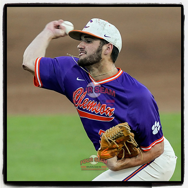 Davis Sharpe (30) of the Clemson Tigers delivers a pitch in a fall Orange-Purple intrasquad scrimmage on Friday, November 13, 2020, at Doug Kingsmore Stadium in Clemson, South Carolina. (Tom Priddy/Four Seam Images)