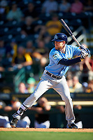 Tampa Bay Rays first baseman Dalton Kelly (76) at bat during a Spring Training game against the Pittsburgh Pirates on March 10, 2017 at LECOM Park in Bradenton, Florida.  Pittsburgh defeated New York 4-1.  (Mike Janes/Four Seam Images)