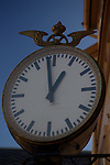 Old clock at Norwegian railway station outside Oslo