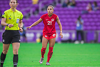 ORLANDO, FL - FEBRUARY 24: Jordyn Listro #21 of the CANWNT waits for the ball during a game between Brazil and Canada at Exploria Stadium on February 24, 2021 in Orlando, Florida.