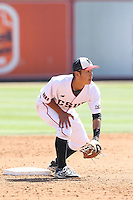 Yusuke Akitoshi (7) of the Cal State Northridge Matadors in the field during a game against the UC Santa Barbara Gouchos at Matador Field on April 10, 2015 in Northridge, California. UC Santa Barbara defeated Cal State Northridge, 7-4. (Larry Goren/Four Seam Images)