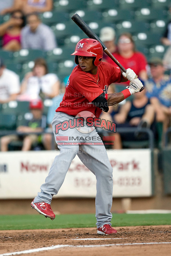 Memphis Redbirds outfielder Adron Chambers #4 at bat during a game against the Round Rock Express at the Dell Diamond on July 7, 2011in Round Rock, Texas.  Round Rock defeated Memphis 6-4.  (Andrew Woolley / Four Seam Images)