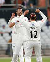 5th July 2021; Emirates Old Trafford, Manchester, Lancashire, England; County Championship Cricket, Lancashire versus Kent, Day 2; James Anderson of Lancashire, celebrates taking his third wicket Ollie Robinson of Kent caught behind and Kent are 5-3