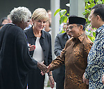 21 March 2016, Jakarta, Indonesia:  Australia's Foreign Minister Julie Bishop with Gija Elder Ms Shirley Drill meeting former Indonesian President BJ Habibi at the official proceedings at the opening of the new Australian Embassy in Jakarta. The function included traditional welcomes, dancing and speeches from Australian and Indonesian guests. Picture by  Graham Crouch/DFAT