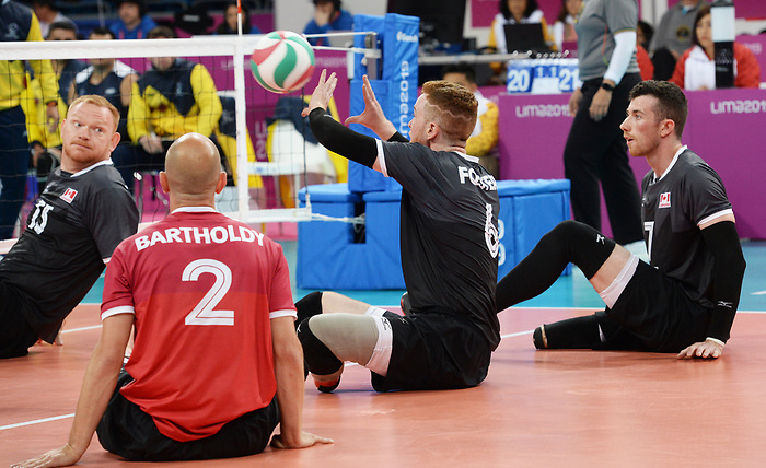 Bryce Foster, Doug Learoyd, and Mikael Bartholdy, Lima 2019 - Sitting Volleyball // Volleyball assis.<br /> Canada competes in men's Sitting Volleyball // Canada participe au volleyball assis masculin. 24/08/2019.