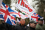 © Joel Goodman - 07973 332324 . 25/02/2017. Telford, UK. Man with Donald Trump mask at a Britain First demonstration in Telford , opposed by anti-fascist groups . Britain First say they are highlighting concerns about child sexual exploitation in the town . Photo credit : Joel Goodman