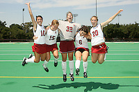 STANFORD, CA - AUGUST 14:  Stephanie Byrne (10), Leigh Kaulbach (15), Beth Ridley (32), Katie Mitchell (6) and Devon Holman (20) of the Stanford Cardinal during picture day on August 14, 2008 at the Varsity Turf Field in Stanford, California.