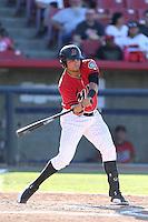 Jody Lara #7 of the High Desert Mavericks bats against the Modesto Nuts at Heritage Field on June 29, 2014 in Adelanto, California. High Desert defeated Modesto, 6-1. (Larry Goren/Four Seam Images)