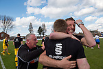 Lowestoft Town 2 Barrow 3, 25/04/2015. Crown Meadow, Conference North. Barrow make the six-hour trip to Suffolk needing a win to secure the title. Coach Alex Meechan celebrates with Manager Darren Edmondson at the final whistle. Photo by Simon Gill.
