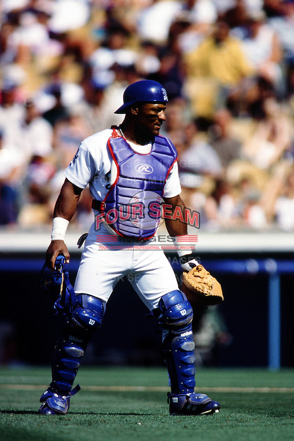 Trenidad Hubbard of the Los Angeles Dodgers during a game at Dodger Stadium circa 1999 in Los Angeles, California. (Larry Goren/Four Seam Images)
