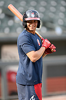 Outfielder Jose Bermudez (7) of the Rome Braves takes batting practice before a game against the Columbia Fireflies on Tuesday, June 4, 2019, at Segra Park in Columbia, South Carolina. Columbia won, 3-2. (Tom Priddy/Four Seam Images)