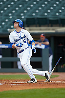 Jack Labosky (6) of the Duke Blue Devils starts down the first base line against the Virginia Cavaliers in Game Seven of the 2017 ACC Baseball Championship at Louisville Slugger Field on May 25, 2017 in Louisville, Kentucky. The Blue Devils defeated the Cavaliers 4-3. (Brian Westerholt/Four Seam Images)