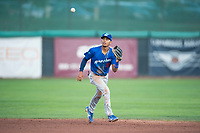 Ogden Raptors second baseman Jeremy Arocho (8) prepares to field a ball during a Pioneer League game against the Orem Owlz at Home of the OWLZ on August 24, 2018 in Orem, Utah. The Ogden Raptors defeated the Orem Owlz by a score of 13-5. (Zachary Lucy/Four Seam Images)