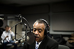 """Monday, April 9,  2007, New York, New York..Controversial radio talk show host Don Imus, went on the Al Sharpton radio show to discuss Imus' comments about the Rutger's women's basketball team. Imus referred to the players as """"nappy headed ho's"""" spurring accusations of racism which led to his dismissal from CBS radio.. Sharpton discusses the situation as he waits for Imus to arrive."""