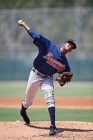 GCL Braves relief pitcher Juan Contreras (65) delivers a pitch during a game against the GCL Pirates on July 26, 2017 at Pirate City in Bradenton, Florida.  GCL Braves defeated the GCL Pirates 12-5.  (Mike Janes/Four Seam Images)