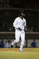 Mesa Solar Sox center fielder Daz Cameron (13), of the Detroit Tigers organization, jogs towards first base during an Arizona Fall League game against the Scottsdale Scorpions at Sloan Park on October 10, 2018 in Mesa, Arizona. Scottsdale defeated Mesa 10-3. (Zachary Lucy/Four Seam Images)