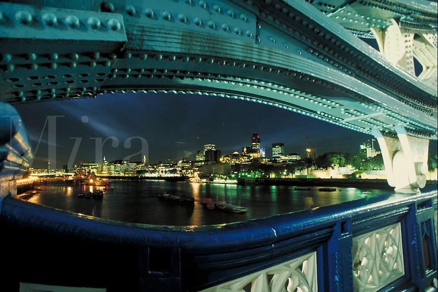 London skyline at night from Tower Bridge. London, England. London, England.
