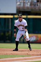 Bradenton Marauders first baseman Mason Martin (47) during a Florida State League game against the St. Lucie Mets on July 28, 2019 at LECOM Park in Bradenton, Florida.  Bradenton defeated St. Lucie 7-3.  (Mike Janes/Four Seam Images)