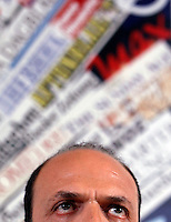"""Il Ministro dell'Interno e Vicepresidente del Consiglio Angelino Alfano tiene una conferenza stampa per annunciare la nascita del gruppo parlamentare del Nuovo Centrodestra, alla Stampa Estera, Roma, 16 novembre 2013.<br /> Interior Minister and Deputy Premier Angelino Alfano attends a press conference to announce the foundation of the """"New Center-Right"""" parliamentary group at the Foreign Press Association, Rome, 16 November 2013.<br /> UPDATE IMAGES PRESS/Isabella Bonotto"""