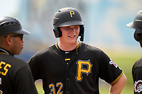 FCL Pirates Black Henry Davis (32) during a pitching change in the top of the third inning during a game against the FCL Rays on August 3, 2021 at Charlotte Sports Park in Port Charlotte, Florida.  Davis was making his professional debut after being selected first overall in the MLB Draft out of Louisville by the Pittsburgh Pirates.  (Mike Janes/Four Seam Images)