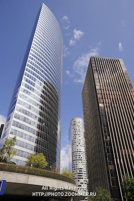 Defense business district buildings in Paris, France (vertical)