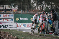 Laurens Sweeck (BEL/Era Circus) and Wout Van Aert (BEL/Crelan Charles) in pursuit. <br /> <br /> Elite Men's Race<br /> UCI CX World Cup Zolder / Belgium 2017