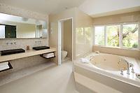 Whirlpool tub in bathroom
