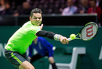 Februari 13, 2015, Netherlands, Rotterdam, Ahoy, ABN AMRO World Tennis Tournament, Milos Raonic (CAN)<br /> Photo: Tennisimages/Henk Koster