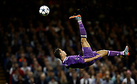 Calcio, Champions League: finale Juventus vs Real Madrid. Cardiff, Millennium Stadium, 3 giugno 2017.<br /> Real Madrid's Cristiano Ronaldo performs an overhead kick during the Champions League final match between Juventus and Real Madrid at Cardiff's Millennium Stadium, Wales, June 3, 2017. <br /> UPDATE IMAGES PRESS/Isabella Bonotto