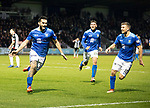St Mirren v St Johnstone…26.12.18…   St Mirren Park    SPFL<br />Tony Watt celebrates his goal with Ross Callachan and David Wotherspoon<br />Picture by Graeme Hart. <br />Copyright Perthshire Picture Agency<br />Tel: 01738 623350  Mobile: 07990 594431