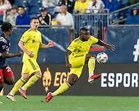 FOXBOROUGH, MA - AUGUST 4: Brian Anunga #27 of Nashville SC controls the ball during a game between Nashville SC and New England Revolution at Gillette Stadium on August 4, 2021 in Foxborough, Massachusetts.
