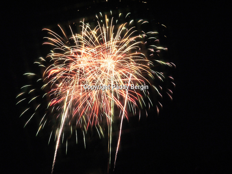 Fireworks competition, celebration, explosive, brilliant colours, stock photos by Paddy Bergin, patterns of light