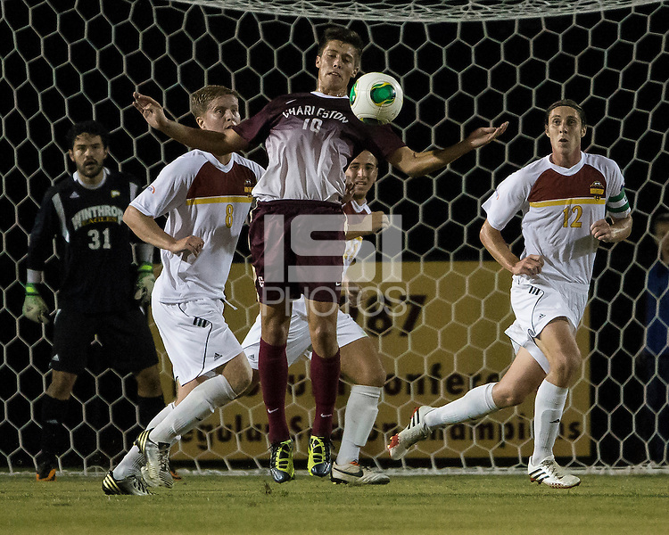 The Winthrop University Eagles played the College of Charleston Cougars at Eagles Field in Rock Hill, SC.  College of Charleston broke the 1-1 tie with a goal in the 88th minute to win 2-1.  Jake Currie (10), Magnus Thorsson (8), Pietro Bottari (21)
