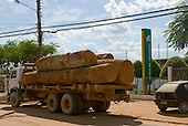 Pará State, Brazil. São Félix do Xingu. Logging truck outside the Banco da Amazônia.