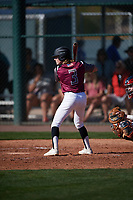 Austin Roccaforte (3) of Tomball Memorial High School in Tomball, Texas during the Baseball Factory All-America Pre-Season Tournament, powered by Under Armour, on January 13, 2018 at Sloan Park Complex in Mesa, Arizona.  (Mike Janes/Four Seam Images)