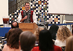 Carson City School District Foundation member Bryt Lewis speaks at a launch ceremony at Carson High School, in Carson City, Nev., on Wednesday, Feb. 18, 2015. <br /> Photo by Cathleen Allison