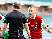 6th February 2021; Easter Road, Edinburgh, Scotland; Scottish Premiership Football, Hibernian versus Aberdeen;Dylan McGeouch of Aberdeen appeals to Referee William Collum on the penalty decision