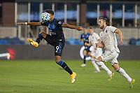 SAN JOSE, CA - SEPTEMBER 05: Danny Hoesen #9 Danny Wilson #4 during a game between Colorado Rapids and San Jose Earthquakes at Earthquakes Stadium on September 05, 2020 in San Jose, California.