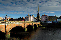 Ayr Town Hall and the New Bridge spanning the River Ayr, Ayr, Ayrshire<br /> <br /> Copyright www.scottishhorizons.co.uk/Keith Fergus 2011 All Rights Reserved