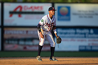 Danville Braves shortstop Derian Cruz (7) on defense against the Princeton Rays at American Legion Post 325 Field on June 25, 2017 in Danville, Virginia.  The Braves walked-off the Rays 7-6 in 11 innings.  (Brian Westerholt/Four Seam Images)