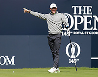 16th July 2021; Royal St Georges Golf Club, Sandwich, Kent, England; The Open Championship Tour Golf, Day Two; Rory McIlroy (NIR) signals the direction of this tee shot on the opening hole