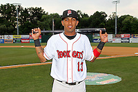 New Britain Rock Cats second baseman Eddie Rosario #13 poses for a photo prior to a game against the Binghamton Mets at New Britain Stadium on July 18, 2013 in New Britain, Connecticut. (Brace Hemmelgarn/Four Seam Images)